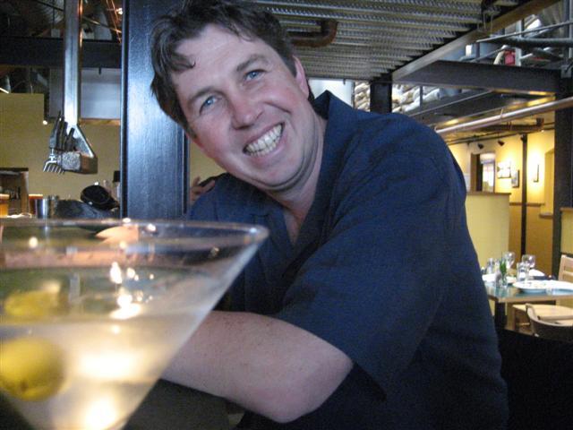 Adam with a martini